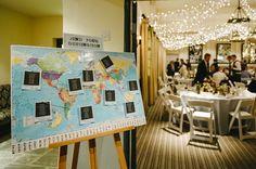 Travel-themed wedding  travel seating charts - photo by Ann-Kathrin Koch http://ruffledblog.com/hare-hounds-hotel-wedding