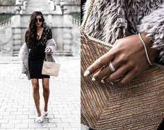 Get this look: http://lb.nu/look/8566211  More looks by Kristina: http://lb.nu/dayinmydreams  Items in this look:  Lulus Lace Dress, Lulus Faux Fur Coat, Lulus Silver Pump Mules, Michael Hill Diamond Bracelet, Michael Hill Stack Silver Rings, Lulus Beaded Bag   #chic #classic #romantic #fashionblogger #luxury #fashion
