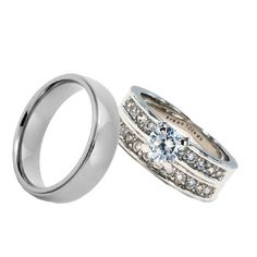 3 Piece His Hers Engagement Wedding Band Ring Set With CZ Cubic Zirconia | eBay