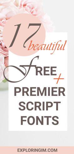 17 BEAUTIFUL FREE AND PREMIER SCRIPT FONTS #blog #blogging #font