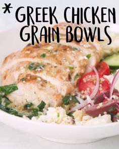 Ultimate #MealPrep goals, right here Green #Chicken #Grain #Bowls #tastyvideos #tastyfoodvideos Lunch Snacks, Mediterranean Diet Recipes, Clean Recipes, Healthy Recipes, Cooking Recipes, Yummy Food, Good Food, Grain Bowl, Meal Prep Bowls
