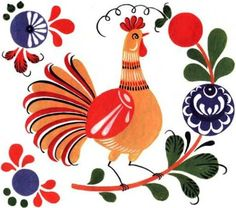 Folk Gorodets painting from Russia. A cock and a floral pattern. #art #folk…