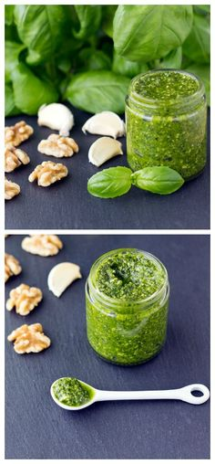 Basil-Walnut Pesto comes together in about 15 minutes and makes a delicious topping for pasta, a tasty spread on sandwiches, or a unique garnish for soups. | Culinary Hill