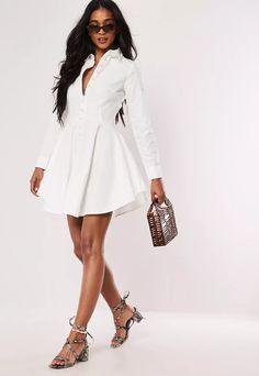 Petite White Button Down Faux Pearl Skater Shirt Dress | Missguided Skater Dress, Dress Skirt, Shirt Dress, Skater Shirts, Button Downs, Button Down Shirt, White Button Down, Discount Shopping, Tulum