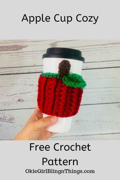 knitting and crochet Ideas cup cozies - Apple Cup Cozy - Free Crochet Pattern - OkieGirlBling'n'Things Crochet Coffee Cozy, Crochet Cozy, Crochet Fall, Free Crochet, Dishcloth Crochet, Crochet Mandala, Crochet Afghans, Crochet Blankets, Crochet Teacher Gifts