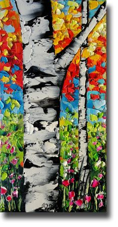 Birch Tree Painting Tree ART Abstract Palette Knife by bsasik