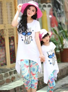 Summer New CAT Family Set clothes Mother Daughter Girls T Shirts+Pants sets 2pcs #Fashion #Everyday