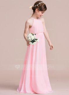 [£69.00] A-Line/Princess Scoop Neck Floor-Length Chiffon Junior Bridesmaid Dress