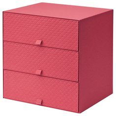 IKEA - PALLRA, Mini chest with 3 drawers, red, , Helps you organize everything from paper, USB sticks and rechargers to make-up and accessories.The soft plastic feet protect the surface underneath from scratches and help the mini chest to stand steady.