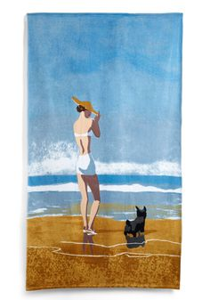 Conde Nast Vogue Beach Girl Dog Beach Towel - x New Yorker Covers, Dog Beach, Girl And Dog, Bath Decor, Beach Resorts, Home Gifts, Beach Towel, House Warming, Kids Rugs