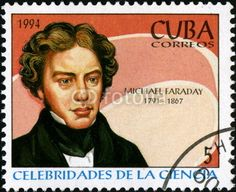 Michael Faraday. Correos. 1994 Michael Faraday, Electromagnetic Induction, Electromagnetic Field, Cuba, Postage Stamps, Famous People, North America, Physics, Literature