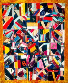 "The Darien (Connecticut) Historical Society's Farrell Family quilt (1881) is an excellent example of an elegant crazy quilt made of velvet and silk, beautifully embroidered, lithographed and painted with initials ""H.A.K."""