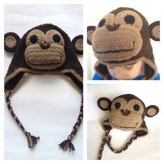 Monkey crochet beanie