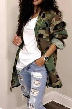 Lovely Casual Turndown Collar Single Breasted Camo Cotton Blends Coat(Without Belt) - Outfits - Roupas Ideias Look Fashion, Girl Fashion, Autumn Fashion, Fashion Outfits, Womens Fashion, Fashion Trends, Camo Fashion, Ladies Fashion, Fashion Clothes