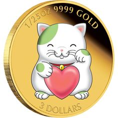 The Chinese lucky waving green cat gold coin is a limited edition Perth Mint release to attract luck, prosperity and business god fortune. Japanese Cat, Japanese Culture, Nyan Cat, Gold And Silver Coins, Maneki Neko, Cat Accessories, Rare Coins, Goods And Services, Perth
