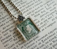 Irish Postage Stamp Necklace - Map of Ireland Vintage Stamp Necklace - St Patrick's Day. $18.00, via Etsy.