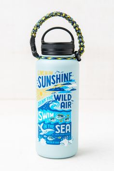 Swim in the Sea 32 oz. Bottle - United By Blue Ocean Day, Insulated Water Bottle, Oceans Of The World, Stainless Steel Water Bottle, Cold Drinks, Camper, How To Draw Hands, Swimming, The Unit