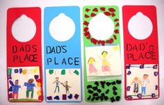 Father's Day Door Hangers:  The students created a portrait of themselves with their dad and glued it onto a door hanger.