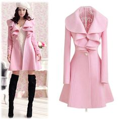 "Pink Wool Blend Knee-Length Junior's Winter Overcoat w/Belt   $48.00  http://shop.thorns2roses.com/Pink-Wool-Blend-Knee-Length-Juniors-Winter-Overcoat-w-Belt-1050-DLDS-7691.htm  Material: Wool Blend  Colors: Pink  Size: Medium, Large, XL, 2XL - Please check measurements prior to ordering     Size	Measurements Chest	Shoulder	Sleeve	Waist	Length Medium	32¼""	15¼""	23¼""	30""	33¾"" Large	33""	15¾""	23½""	30¾""	34½""  XL	33¾""	16""	24"" 	31"" 	35"" 2XL	34½""	16½""	24½""	31½"" 	35¾"""