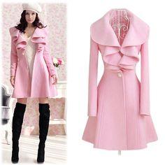 "Pink Wool Blend Knee-Length Junior's Winter Overcoat w/Belt   $48.00  http://shop.thorns2roses.com/Pink-Wool-Blend-Knee-Length-Juniors-Winter-Overcoat-w-Belt-1050-DLDS-7691.htm  Material: Wool Blend  Colors: Pink  Size: Medium, Large, XL, 2XL - Please check measurements prior to ordering     SizeMeasurements ChestShoulderSleeveWaistLength Medium32¼""15¼""23¼""30""33¾"" Large33""15¾""23½""30¾""34½""  XL33¾""16""24"" 31"" 35"" 2XL34½""16½""24½""31½"" 35¾"""