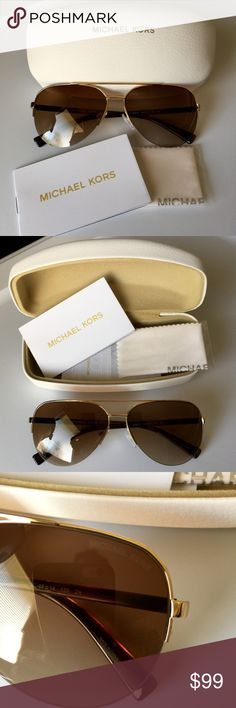 MICHAEL KORS AviatorTortoiseGoldSperoneSunglasses MICHAEL KORS Aviator Tortoise Gold MK5008 Sperone  Women's Sunglasses $200 MICHAEL KORS AVIATOR in Dark Tortoise  Frame with Gold MK5008 Sperone Womens Sunglasses! Brand NEW & 100% authentic Michael Kors! Model: MK 5008 Sperone  Size: 58mm-14mm-135mm  Includes: Michael Kors hard storage case! Michael Kors Aviator style Sunglasses are an oversize frame with logo engraved detailing on the temples. The metal Michael Kors logo is featured on the…