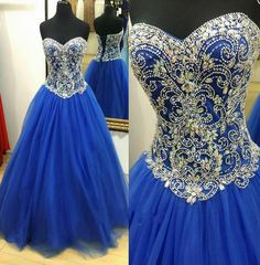 Amazing Luxury Prom Dress,Royal Blue Ball Gown,Beading Sweetheart Quanceanera Dress,Tulle Gown For Teens