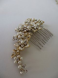 MINI Floral Rhinestone and Pearl Bridal Comb - Wedding Hair Accessories, Bridal Hair Comb, Pearl and Crystal Floral Vine Hair Comb