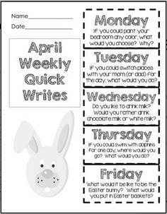 Writing - April Quick Writes - Common Core Writing Practice for Primary Grades… Writing Mini Lessons, Writing Prompts For Kids, Writing Words, Teaching Writing, Writing Practice, Writing Activities, Creative Writing, Writing Journals, Kindergarten Writing