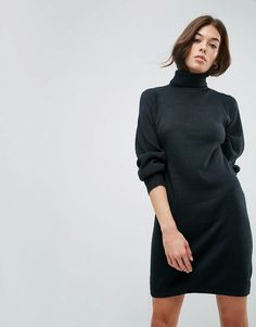 ASOS Knitted Dress With Full Sleeve - Green