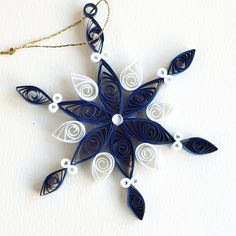 https://flic.kr/p/Bv4XV3 | 6 point dark blue and white quilled snowflake with silver diamante