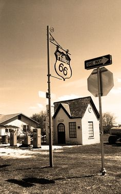 """Route 66 Fine Art photography, for hanging wall art or framed prints. Restored """"Cottage Style"""" Phillips 66 gas station in McLean, Texas, along old Rt. Phillips 66, Old Gas Stations, Old Country Stores, Film Images, Sea To Shining Sea, Travel Route, Road Trip Usa, Hanging Wall Art, Back In The Day"""