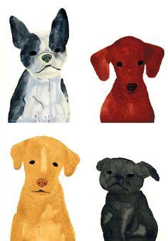 Dog Portraits by Itsuko Suzuki  #dogs #illustrations