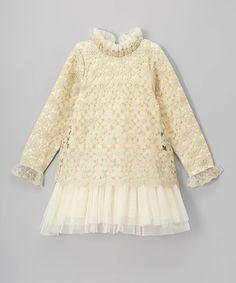 Loving this Gold Crochet Ruffle-Trim Dress - Toddler & Girls on #zulily! #zulilyfinds