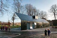 Mirror House Playground Pavilion, Copenhagen, Denmark by MLRP / Architecture, Research & Development-talk about blending in!!
