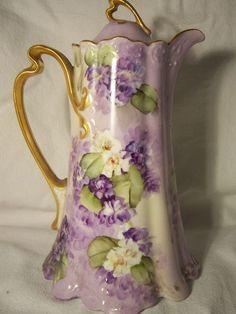 Antique Limoges Chocolate Pot | Gorgeous Antique Hand Painted Limoges Chocolate Pot Signed E Miler