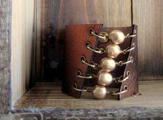 Steam Punk Handmade Metallic Bronze Leather by SmitherineDesigns, $48.00