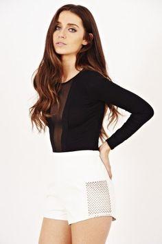 ec85bc8881 Rachel Black Long Sleeve Mesh Insert Bodysuit