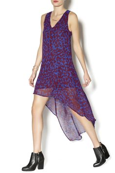 Purple and blue high-low dress