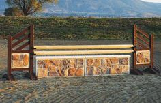 Molded flagstone rock wall horse jump
