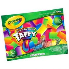 "Crayola ""Color Your Mouth"" Taffy. 30 individually wrapped Taffy in assorted fruit flavors that include Cherry, Orange, Lemon, Apple, Raspberry & Grape. Color your tongue the tasty way!"