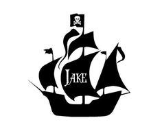 Pirate Decal - LARGE Personalized Name Pirate Ship Vinyl Wall Decal