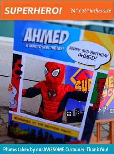 Superhero Theme Photo Booth. Party Prop Frame. Digital por Imajenit