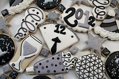 Silver and Black New Years Cookies, by Sugarbelle