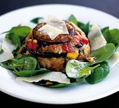 Aubergine timbales with goat's cheese  http://www.bbcgoodfood.com/recipes/2287/aubergine-timbales-with-goats-cheese#
