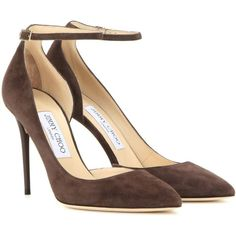 Jimmy Choo Lucy 100 Suede Pumps ($695) ❤ liked on Polyvore featuring shoes, pumps, heels, brown, heels & pumps, brown suede pumps, brown pumps, suede leather shoes and brown shoes