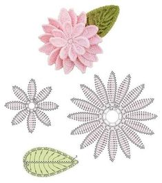 Crochet Flower Pattern + Charts  Lots more like this via the Portugeuse website fiosarterapia