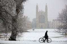 Kings College Chapel, Cambridge in the winter snow.