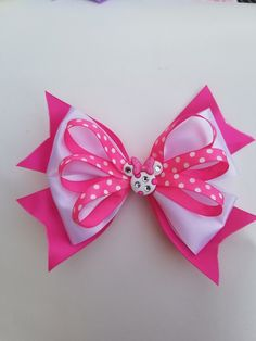 Pink and White Minnie Mouse Hair Bow - All For Hairstyles Ribbon Hair Bows, Diy Ribbon, Girl Hair Bows, Bow Hair Clips, Girls Bows, Flower Hair Bows, Disney Hair Bows, Hair Bow Tutorial, Fabric Bow Tutorial