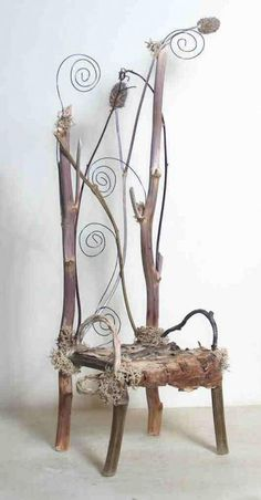 The Swirling Winds of Winter – © 2004 Debbie Schramer – rustic furniture miniature nature branches chair fairytale fairies gnomes elves Mixed Media Online Artworks