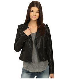 Levi's® Classic Assymetrical Faux Leather Motorcycle Jacket $89 Cropped Leather Jacket, Vegan Leather Jacket, Lambskin Leather Jacket, Faux Leather Jackets, Coats For Women, Jackets For Women, Outerwear Women, Outerwear Jackets, Capsule Wardrobe